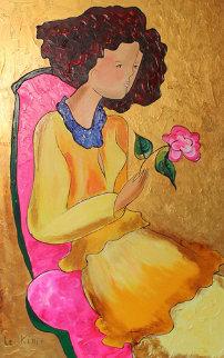 Beautiful Rose II  2006 46x33 Super Huge Original Painting - Linda LeKinff