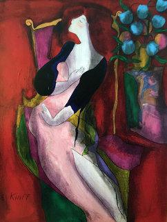 Parme on wood 2001 49x41 Huge Original Painting - Linda LeKinff