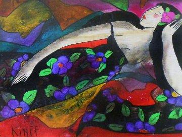 Noemie Des Iles  on wood 2002 21x24 Original Painting by Linda LeKinff