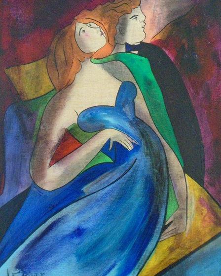 La Vie En Bleu on Wood 2002 24x21 Original Painting by Linda LeKinff