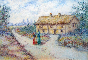 Virginia Et Nina A Cle\'cy En Normandie 23x27 Works on Paper (not prints) - Lelia Pissarro