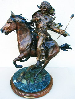 Buffalo Warrior Bronze Sculpture 29 in Sculpture - David Lemon