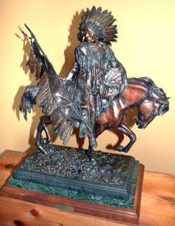 Pipe Holder Bronze Sculpture 1991 24 in  Sculpture by David Lemon
