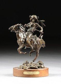 Buffalo Warrior Bronze Sculpture 1985 28 in Sculpture - David Lemon
