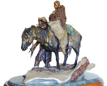 Mountain Family Bronze Sculpture 24x31 Sculpture - David Lemon