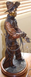 Workin' for the Brand Bronze Sculpture 27 in Sculpture by David Lemon