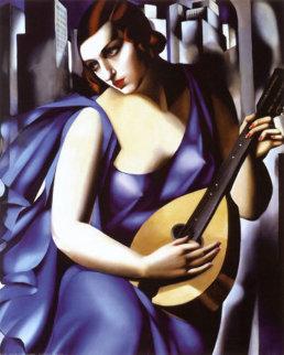 Femme Blue A La Guitare 1995 Limited Edition Print - Tamara de Lempicka