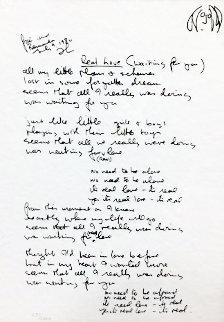 Lyrics: Real Love Lyrics 1995 Limited Edition Print - John Lennon
