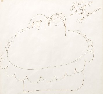 Apple Pie Bed Drawing c. 1969 23x23  Works on Paper (not prints) - John Lennon