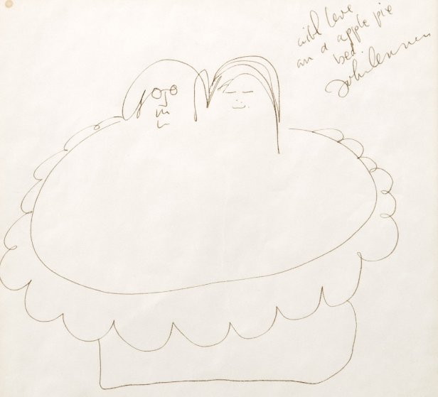 Apple Pie Bed Drawing c. 1969 23x23  Works on Paper (not prints) by John Lennon