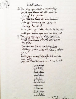 Lyrics: Revolution Lyrics Limited Edition Print - John Lennon