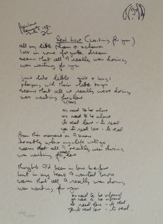 Real Love Lyrics 1995 Limited Edition Print by John Lennon