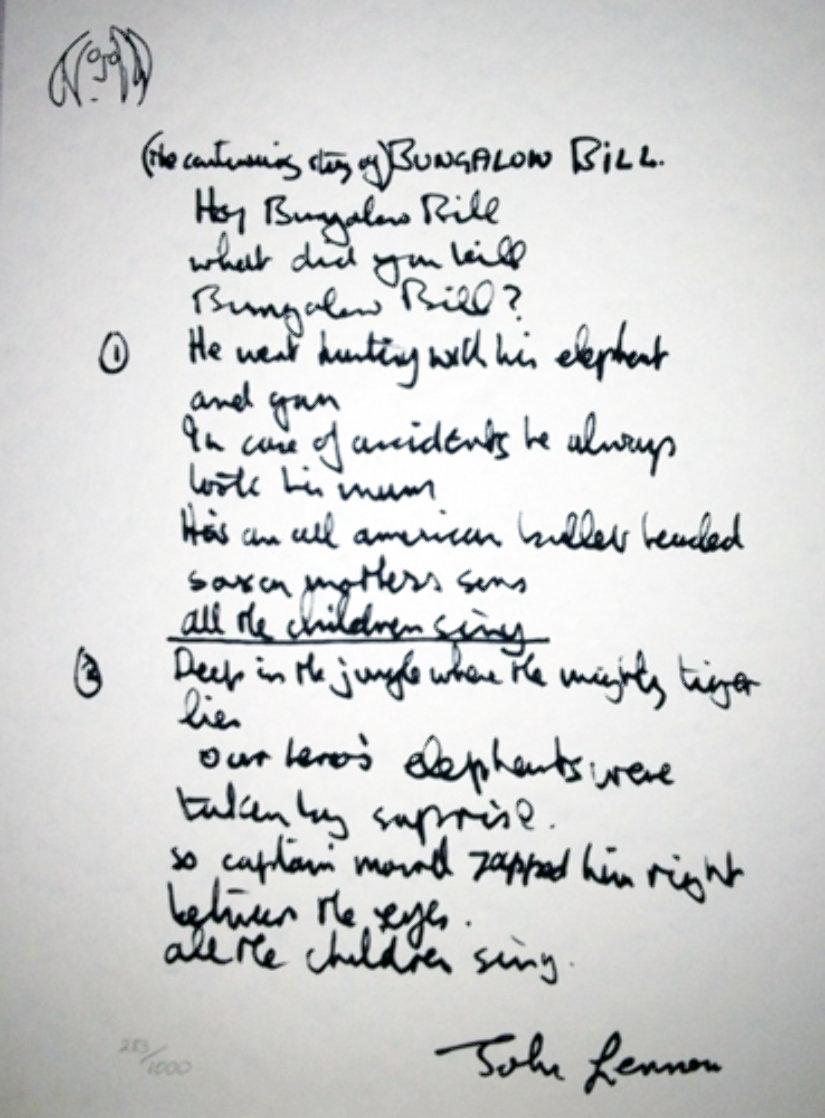 Lyrics: Bungalow Bill  Limited Edition Print by John Lennon