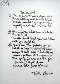Lyrics: I'm So Tired AP 1995 Limited Edition Print - John Lennon