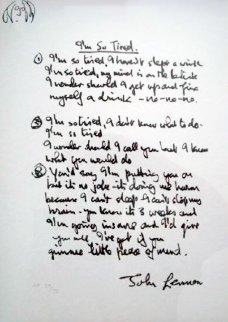 Lyrics: I'm So Tired AP Limited Edition Print by John Lennon