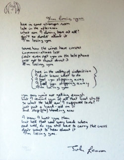 Lyrics: I'm Losing You 1995 Limited Edition Print by John Lennon
