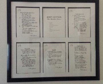 Lyrics: Beatle Years, Set of 12 Lyrics 1995 Limited Edition Print - John Lennon