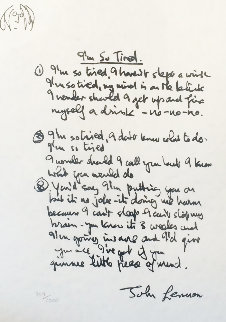 Lyrics: I'm So Tired 1995 Limited Edition Print by John Lennon