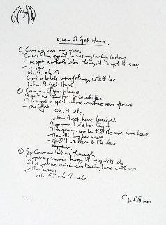 Lyrics: When I Get Home 1997 Limited Edition Print by John Lennon