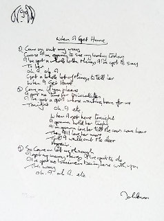 Lyrics: When I Get Home 1997 Limited Edition Print by John Lennon
