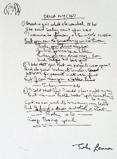 Lyrics: Drive My Car 2001 Limited Edition Print by John Lennon
