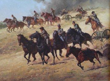 Flying Artillery 47x37 Original Painting - John Leone