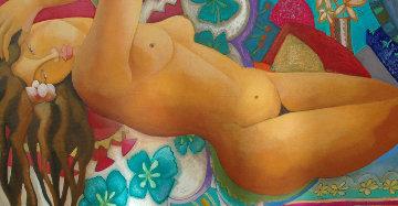 Femme Turquoise  2009 22x37 Original Painting - Patricia Leroux