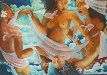 Les Baigneuses 2007 27x39 Original Painting - Patricia Leroux