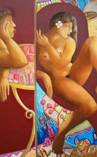 Rencontre Dyptique 2006 58x29 Original Painting by Patricia Leroux
