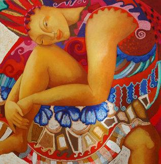 La Reine 2009 39x39 Original Painting - Patricia Leroux