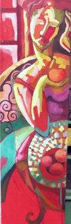 Femme a La Pomme 2010 52x18 Original Painting - Patricia Leroux