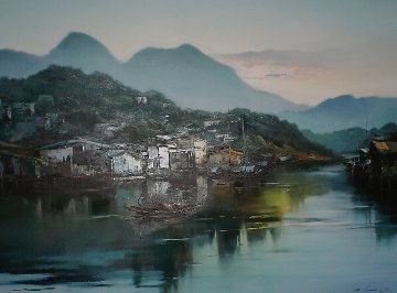 Hong Kong Village 1986 43x55 Original Painting - Hong Leung