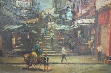 Ladder Street - Hong Kong 1969 23x35 Original Painting - Hong Leung