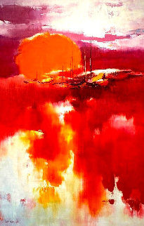Red 1970 41x33 (Early Work)  Original Painting by Hong Leung