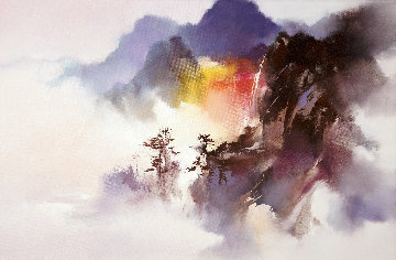 Falls Above the Clouds 2016 20x30 Original Painting - Hong Leung