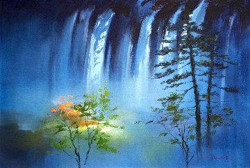 Blue Falls 2017 24x36 Original Painting - Hong Leung