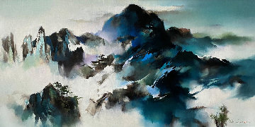 Mountain Summit 2013 33x56 Original Painting - Hong Leung