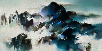 Mountain Summit 2013 33x56 Huge Original Painting - Hong Leung