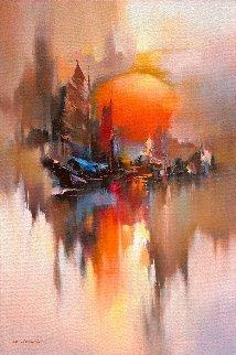 Morning Rise 2017 41x30 Original Painting - Hong Leung