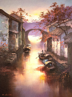 Watertoens Morning 2018 35x23 Original Painting by Hong Leung