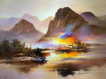 Beside the River 2013 35x47 Huge Original Painting - Hong Leung