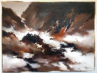 Abstract Seascape 1977 36x48 Super Huge  Original Painting by Hong Leung - 1