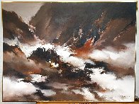 Abstract Seascape 1977 36x48 Super Huge  Original Painting by Hong Leung - 2