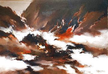 Abstract Seascape 1977 36x48  Huge  Original Painting - Hong Leung