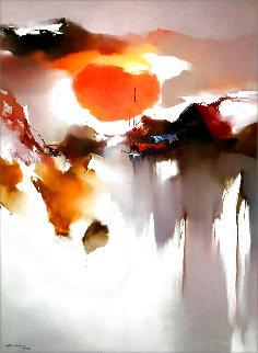 Untitled Landscape 1978 48x36 Super Huge Original Painting - Hong Leung