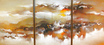 Untitled Painting (Tripytch) 1979 49 X 37 Each - Super Huge.Mural Original Painting - Hong Leung