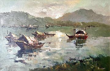 Untitled (Floating Sampans) 1960 (Early) 30x41 Huge  Original Painting - Hong Leung