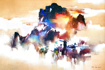 Golden Riverside 2018 29x40 Original Painting - Hong Leung