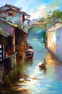 Water Village 2017 35x24 Original Painting - Hong Leung