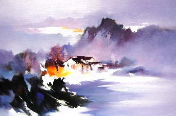 House Above the Clouds 2016 19x30 Original Painting - Hong Leung